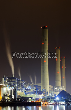power, station, at, night, with, smoke - 14038519