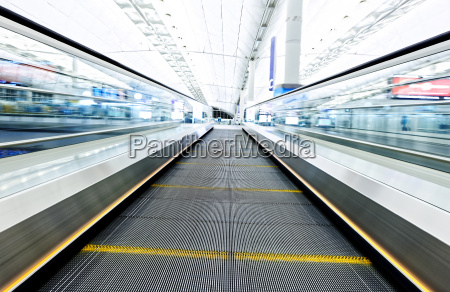 symmetric, moving, blue, escalator, inside, contemporary - 14038539