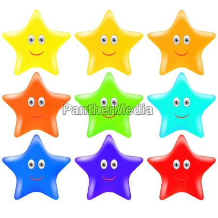 set of colorful gold stars isolated