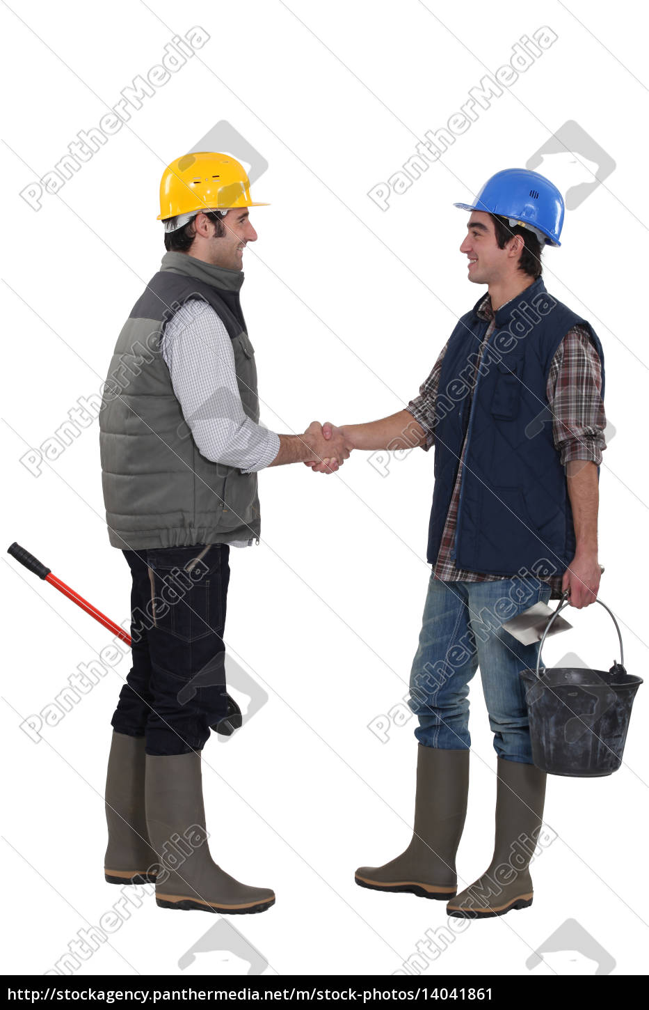 construction, workers, shaking, hands - 14041861