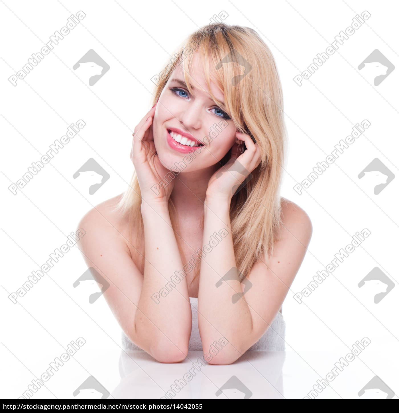 smiling, young, blond, woman, with, head - 14042055
