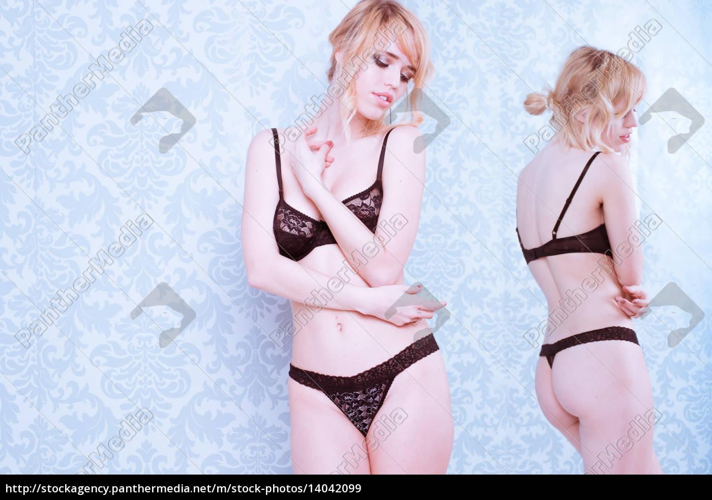 woman, wearing, bra, and, panties, standing - 14042099