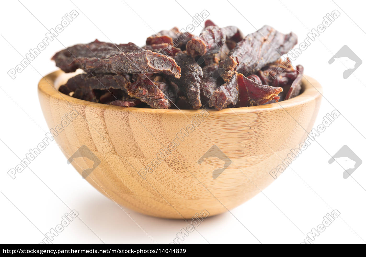 beef, jerky, in, wooden, bowl - 14044829