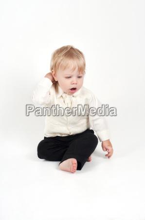 cute little baby in formal suit