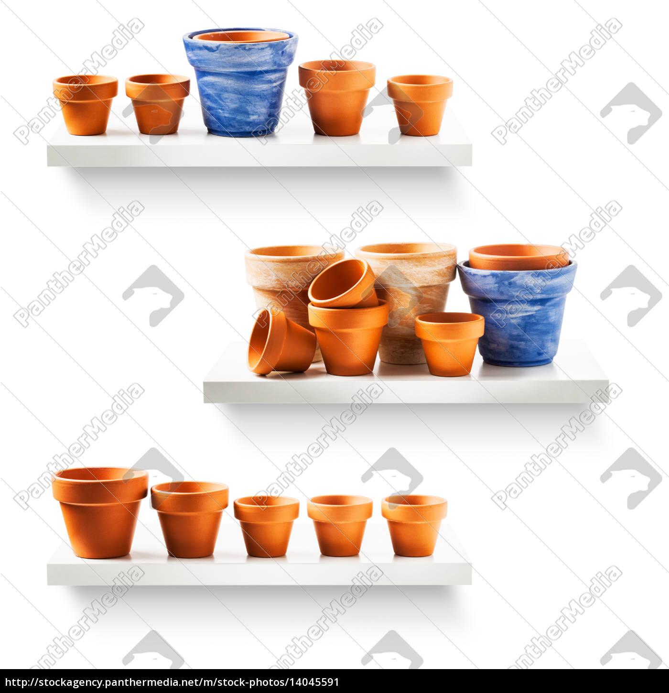 flowerpots, on, shelf - 14045591