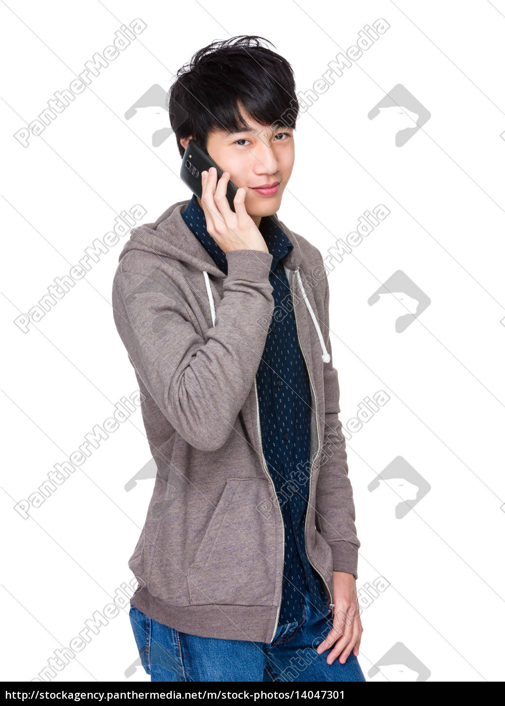 happy, chinese, man, using, a, smartphone - 14047301