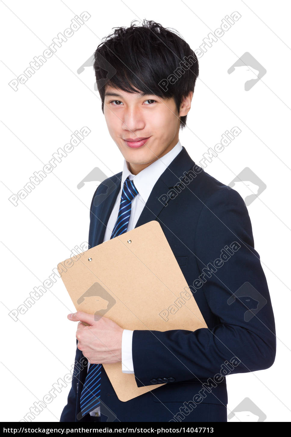 young, attractive, businessman, holding, a, folder - 14047713