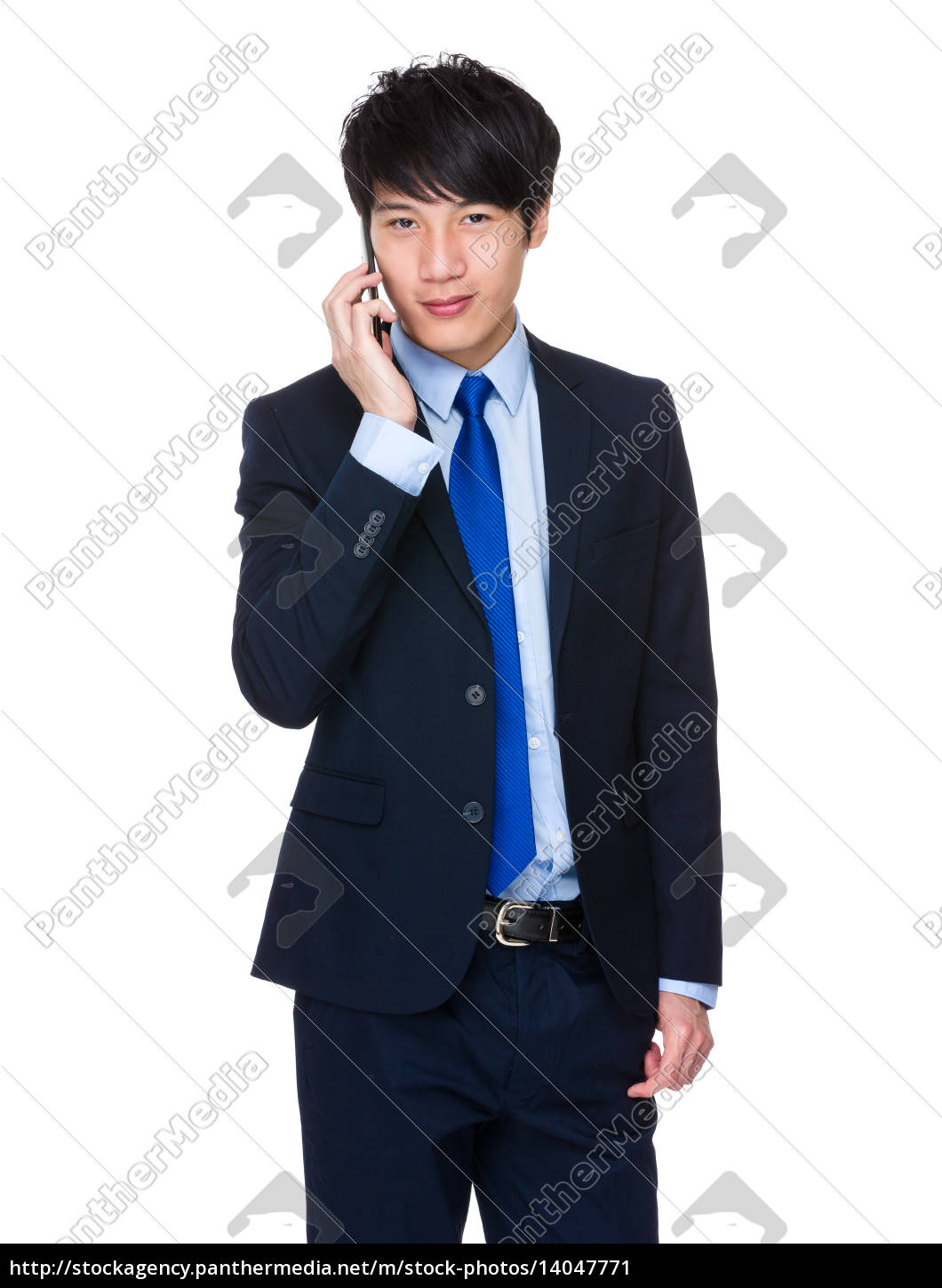 young, business, man, happy, speaking, mobile - 14047771