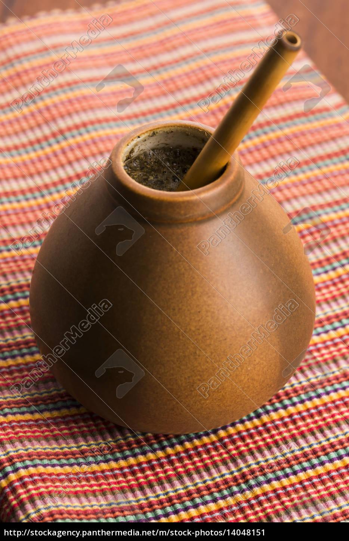 calabash, and, bombilla, with, yerba, mate - 14048151