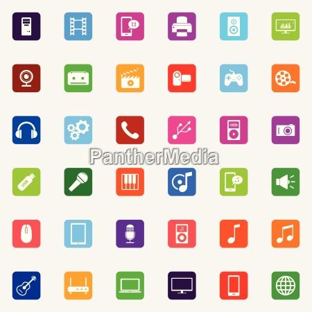 set of colorful flat media icons