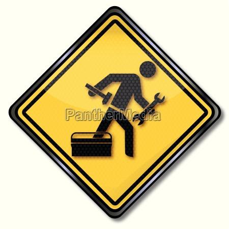 sign repairman hammer craftsmen and customer