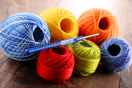 colorful, yarn, for, crocheting, and, hook - 14050985