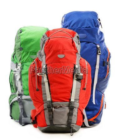 large, red, touristic, backpack, isolated, on - 14050977