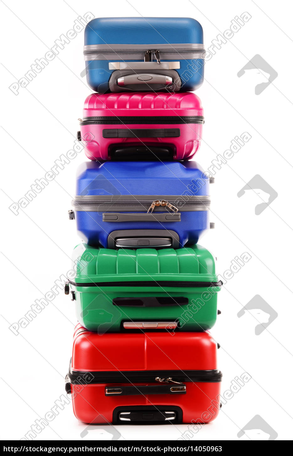 stack, of, plastic, suitcases, isolated, on - 14050963
