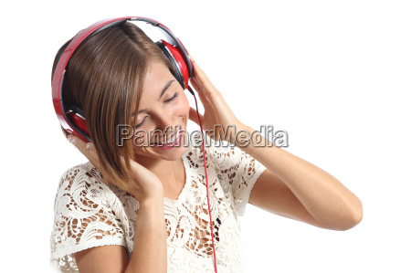 candid happy woman feeling the music