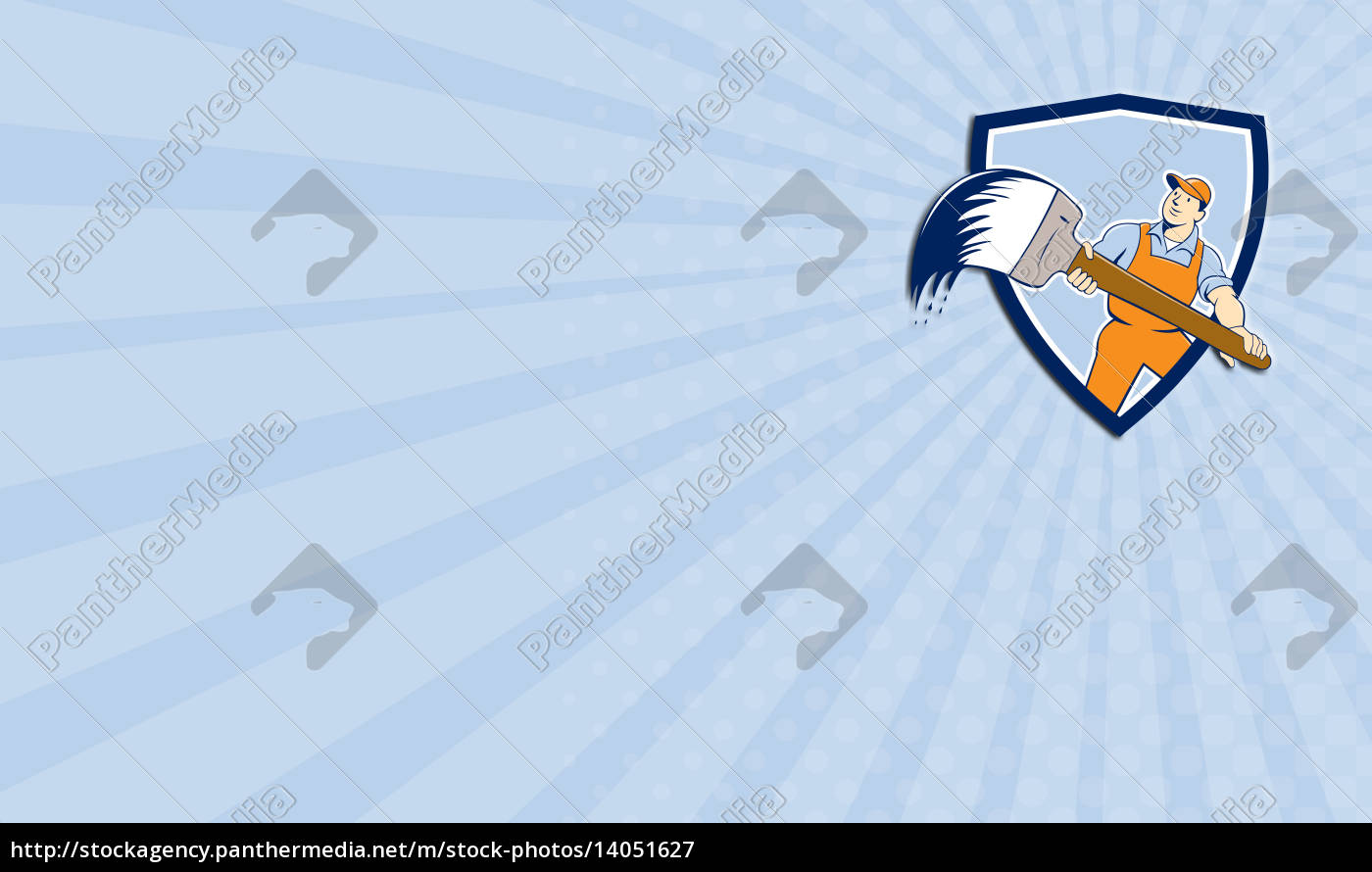 business, card, house, painter, giant, paintbrush - 14051627