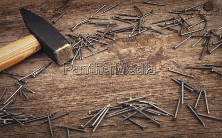 metal, hammer, and, nails, on, wooden - 14052149