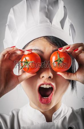fun goofy chef with tomato eyes