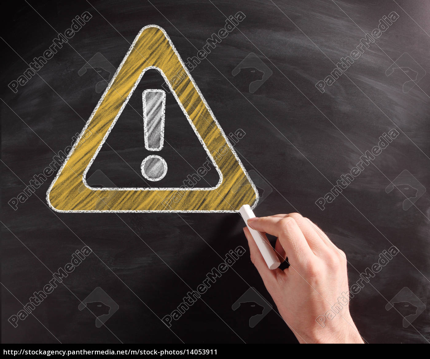 conceptual, caution, sign, on, black, chalkboard - 14053911