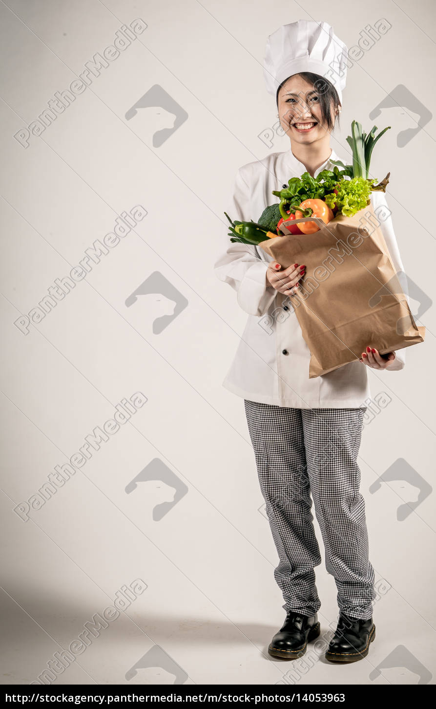 happy, chef, holding, paper, bag, with - 14053963