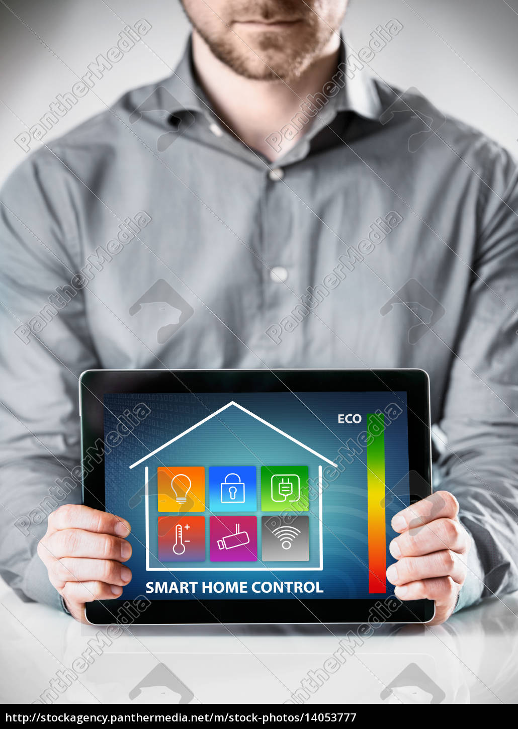 man, with, tablet, showing, home, control - 14053777