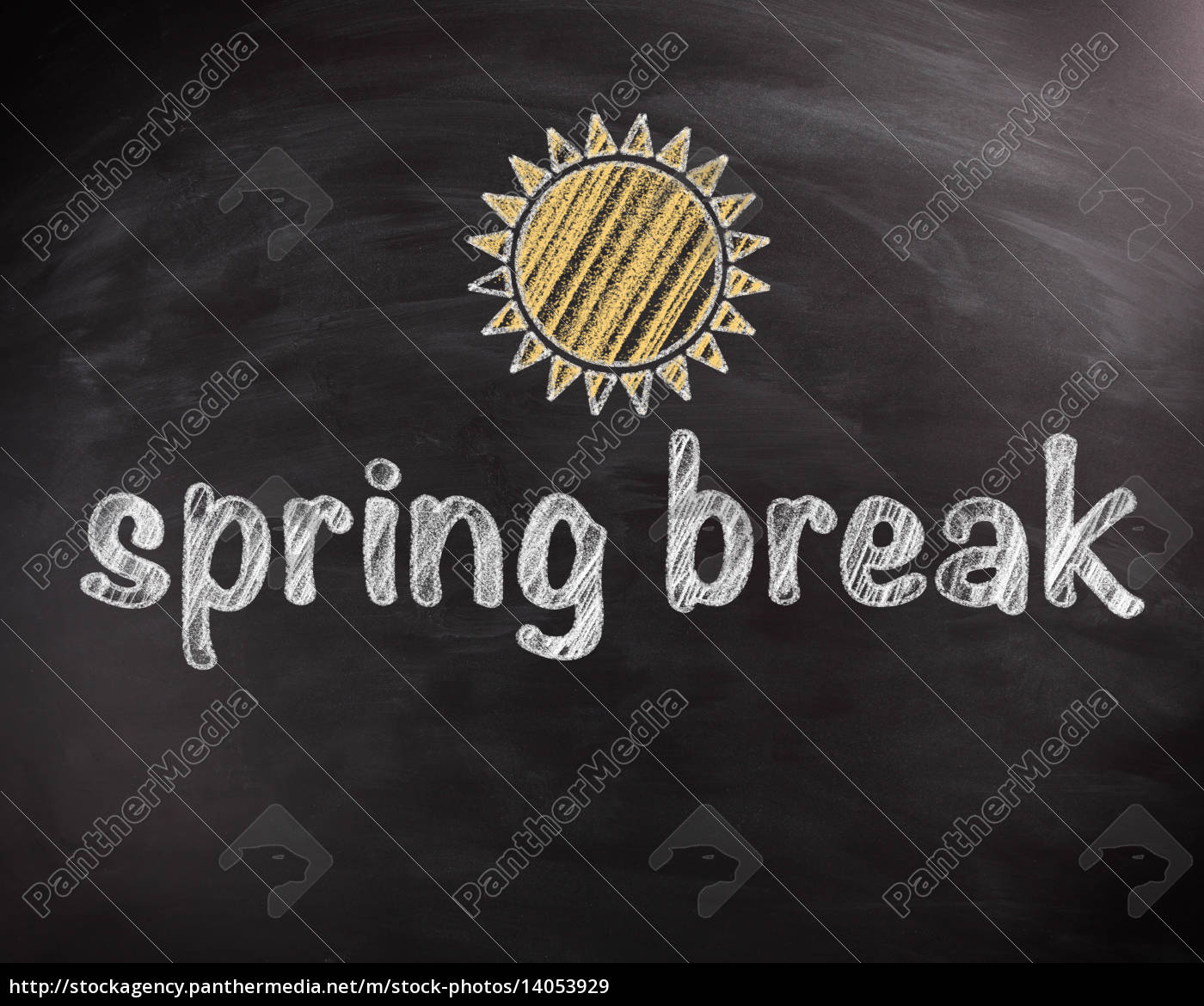 spring, break, texts, on, chalkboard, with - 14053929