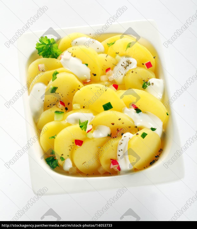 tasty, boiled, potato, slices, on, white - 14053733