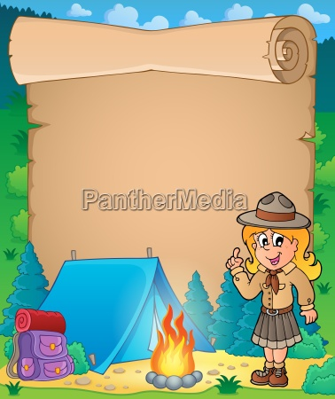 parchment with advising scout girl