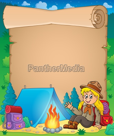 parchment with scout girl theme 1