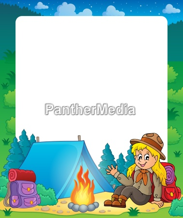 summer frame with scout girl theme