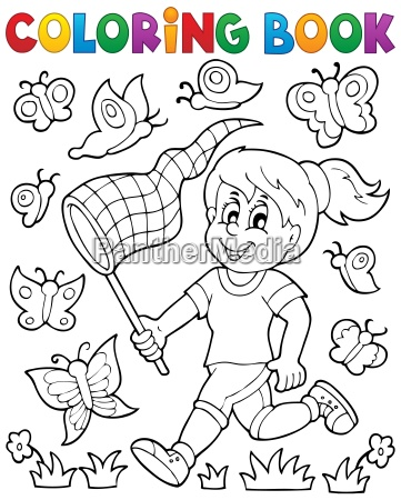coloring, book, girl, chasing, butterflies - 14054085
