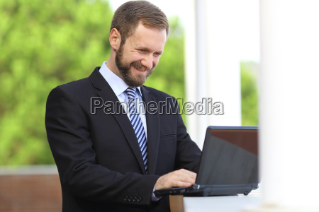 happy, business, man, working, browsing, internet - 14054163