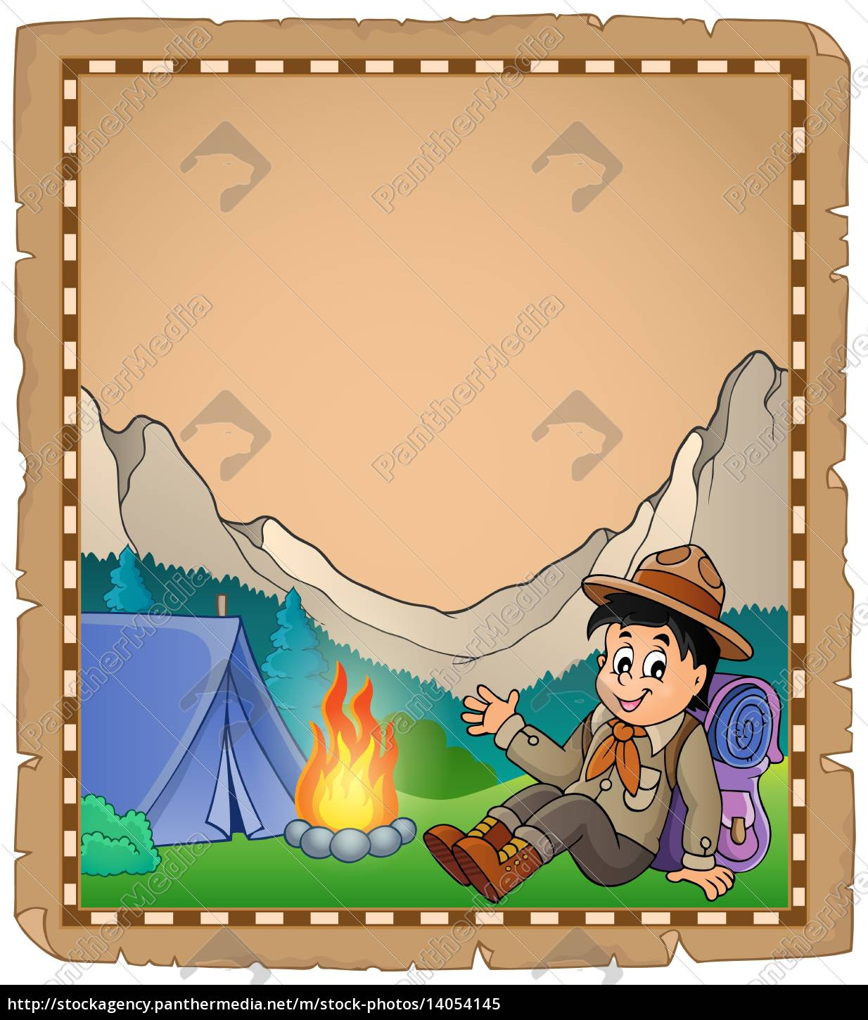 parchment, with, scout, boy, in, mountain - 14054145