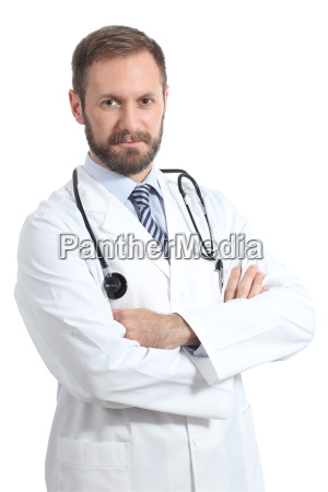 serious, doctor, man, posing, with, folded - 14054171