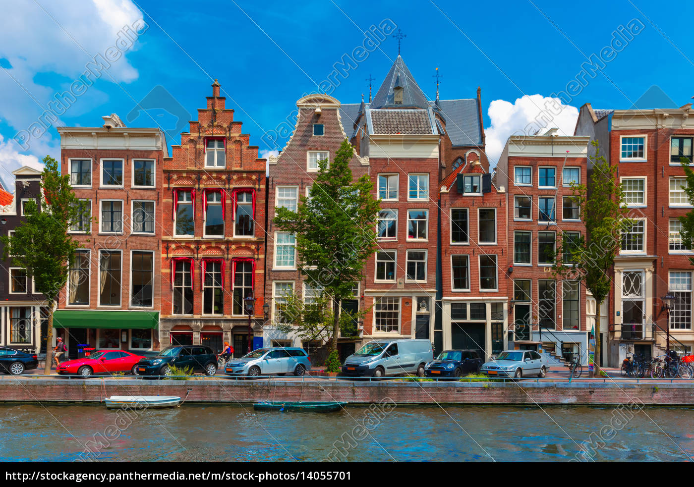 night, amsterdam, canal, with, dutch, houses - 14055701