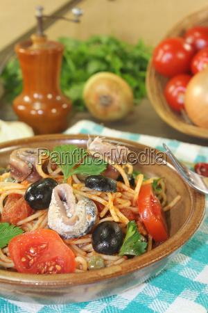 spaghetti alla puttanesca with anchovies and