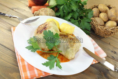 braised stuffed cabbage with potatoes and