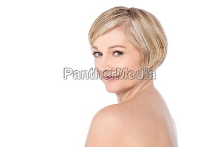 bare, shoulder, woman, over, white - 14057333