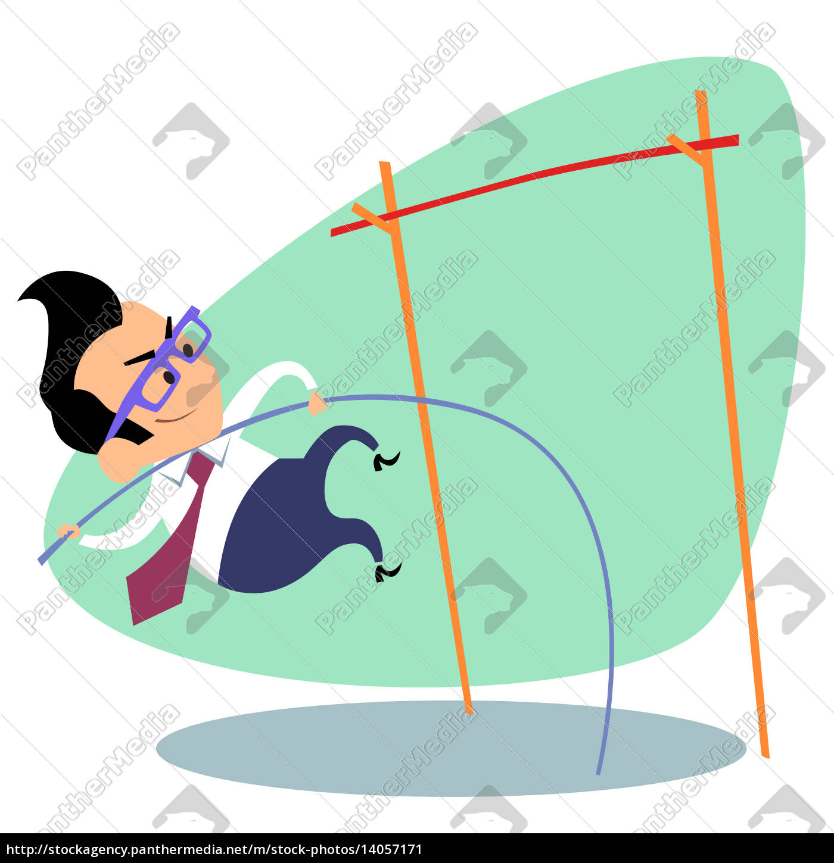 businessman, pole, vault, height, business, theme - 14057171