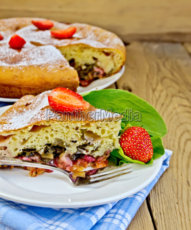 pie with strawberry and sorrel on