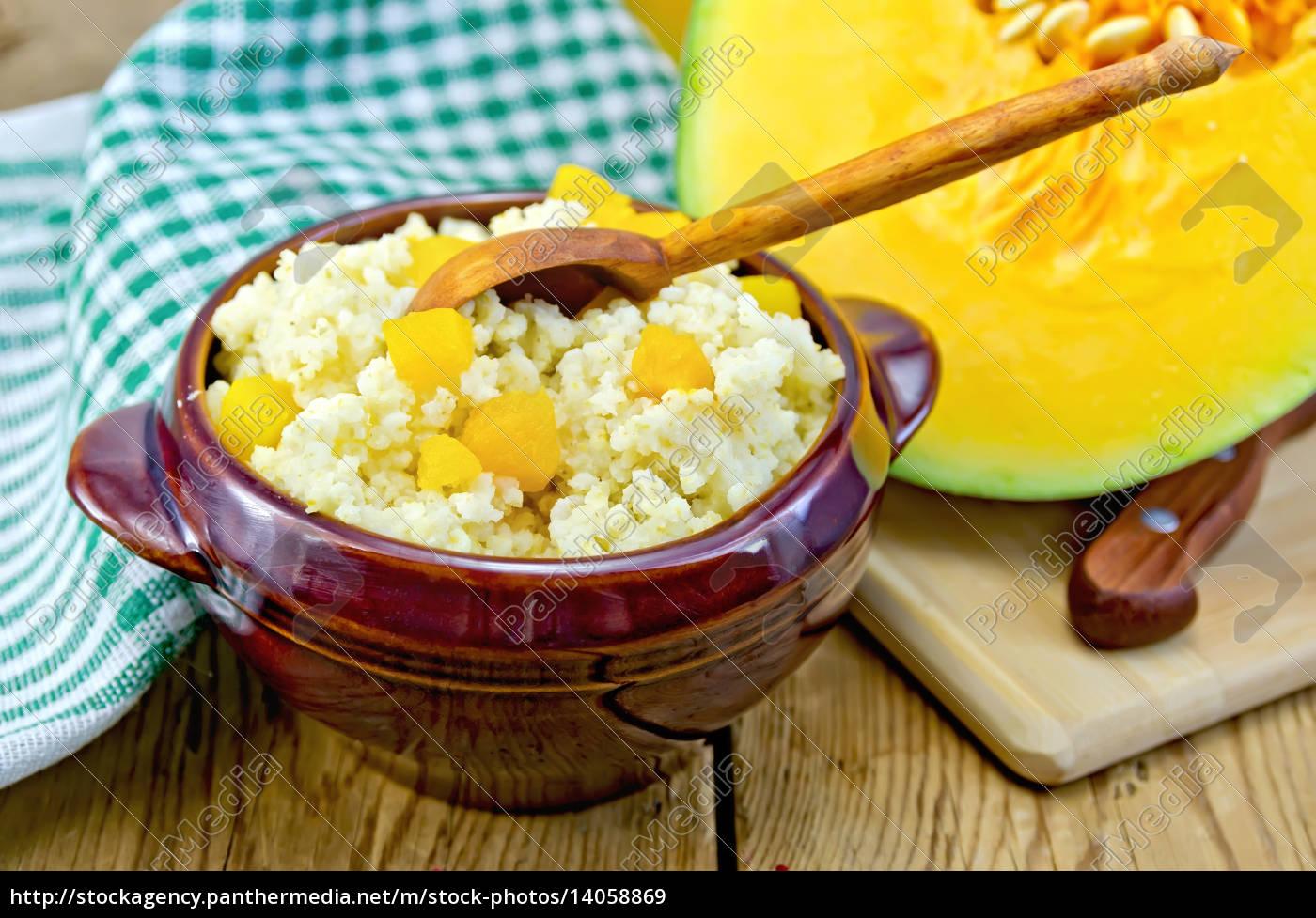 porridge, millet, with, pumpkin, and, wooden - 14058869