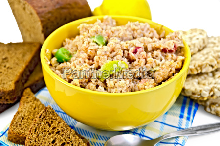 porridge, rye, flakes, with, bread, and - 14058883