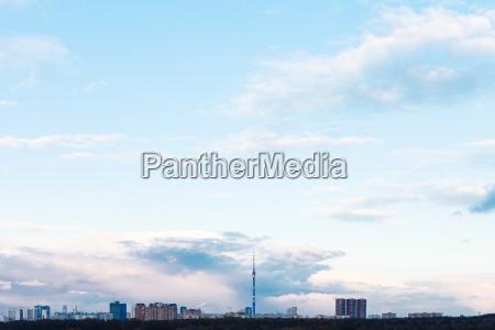 blue, evening, sky, over, urban, houses - 14059497