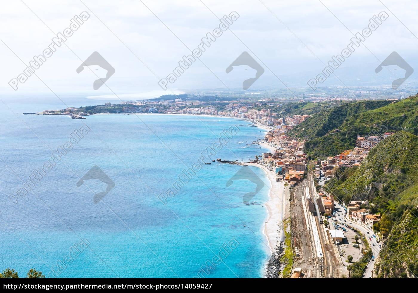 ionian, sea, coastline, and, giardini, naxos - 14059427