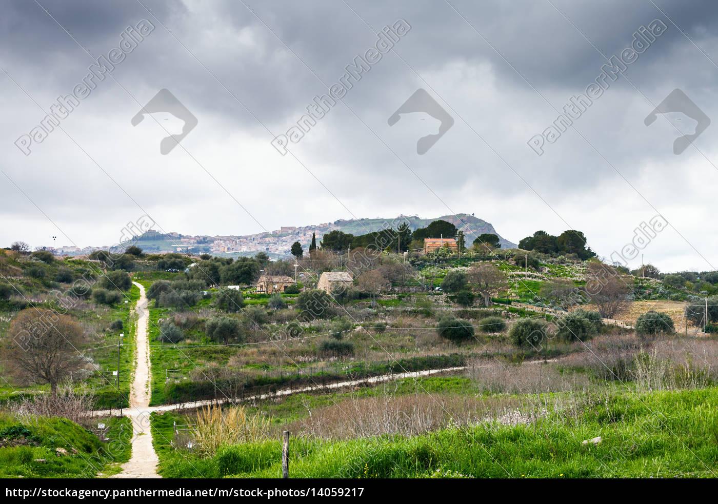 morgantina, settlement, under, rainy, clouds, , sicily - 14059217
