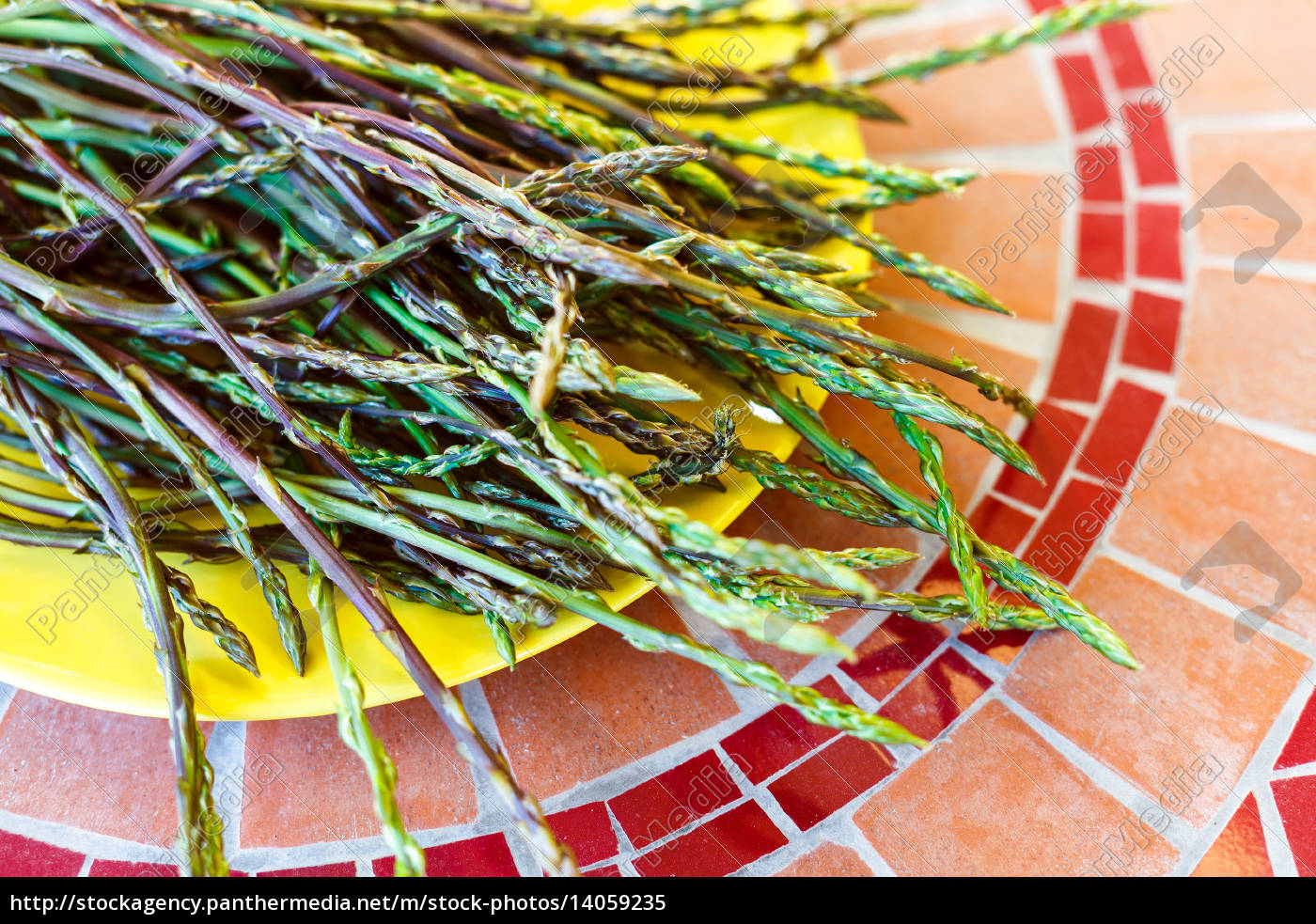 wild, asparagus, shoots, on, yellow, plate - 14059235