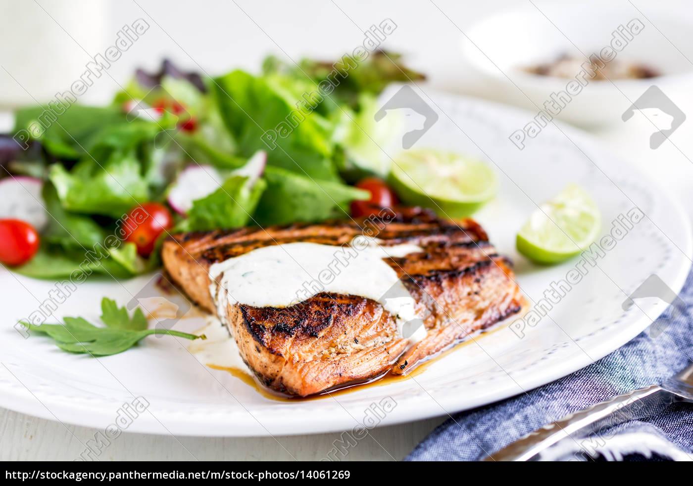 glazed, salmon, with, salad - 14061269