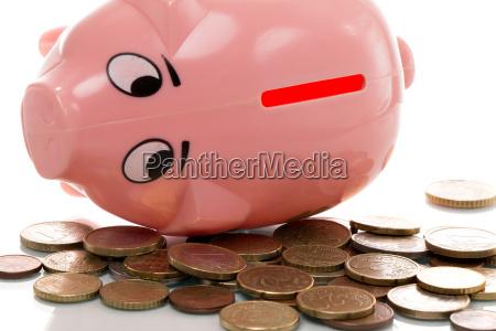 pink piggy bank euros
