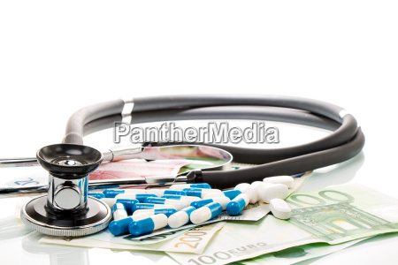 health care costs stethoscope and euro