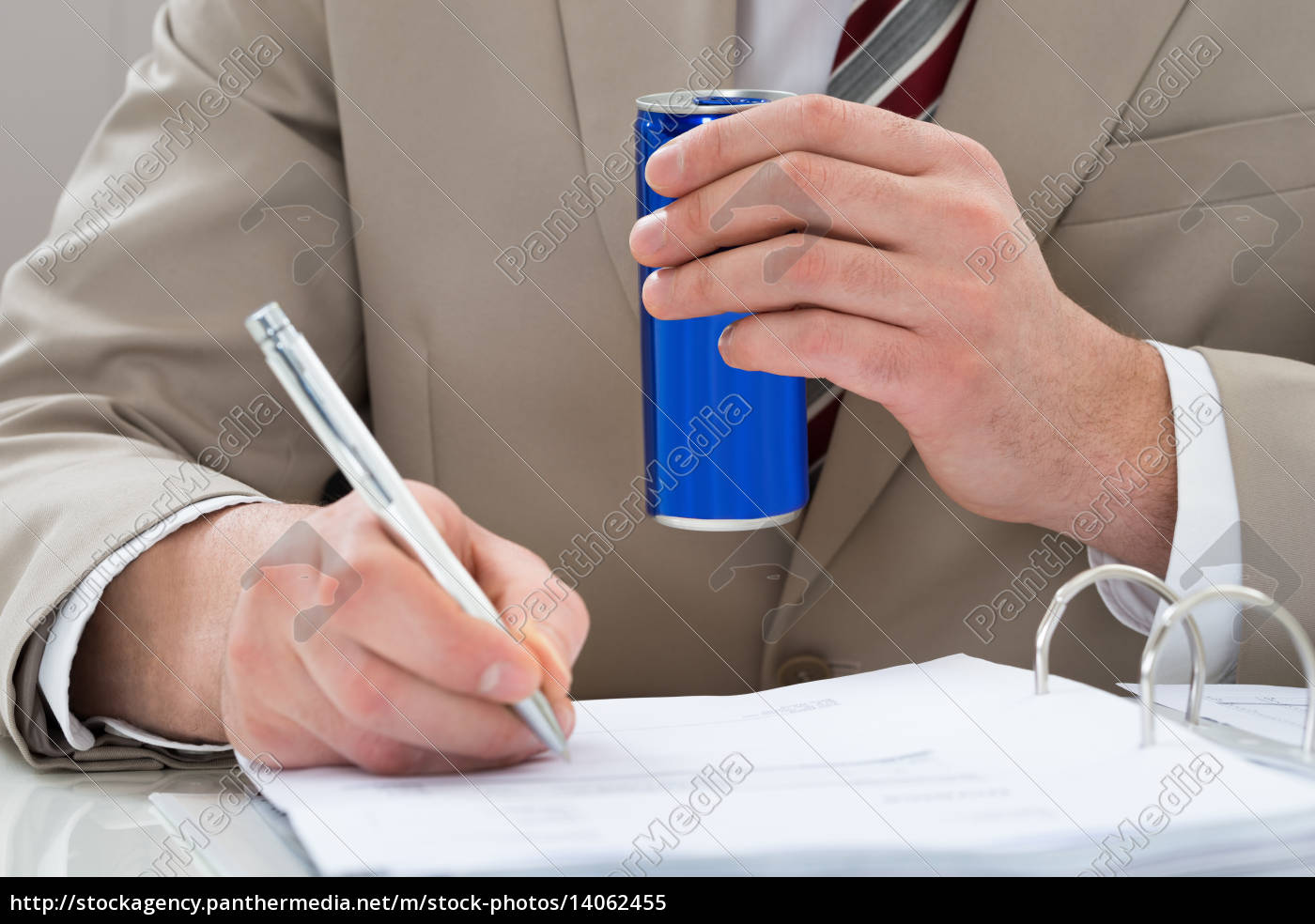 businessman, with, drink, can, and, document - 14062455